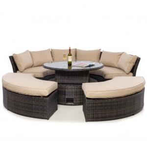 Maze Rattan Brown Chelsea Lifestyle Sofa Set & Glass Table Top