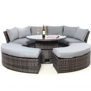 Maze Rattan Grey Chelsea Lifestyle Sofa Set & Glass Table Top