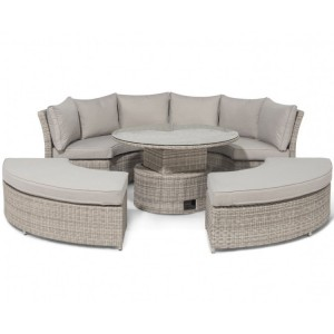 Maze Rattan Oxford Chelsea Lifestyle Sofa Set & Glass Table Top