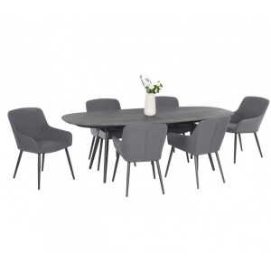 Maze Fabric Zest Garden Furniture 6 Seat Oval Dining Set in Flanelle