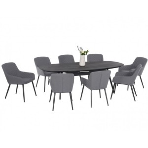 Maze Fabric Zest Garden Furniture 8 Seat Oval Dining Set in Flanelle