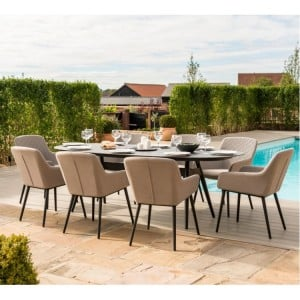 Maze Fabric Zest Garden Furniture 8 Seat Oval Dining Set in Taupe