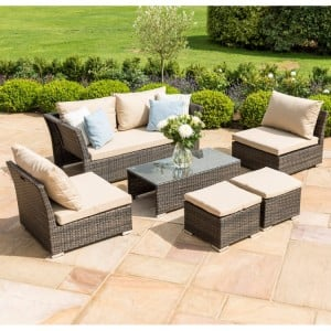 Maze Rattan Garden Furniture Seville Brown Sofa Set