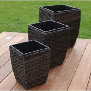 Maze Rattan Garden Furniture 3 Shaped Brown Planters