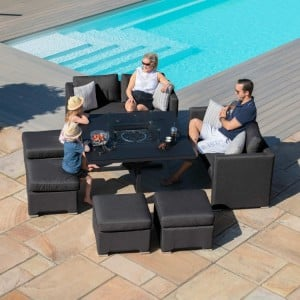 Maze Lounge Outdoor Fabric Fuzion Charcoal Sofa Cube Set with Fire Pit - PRE ORDER