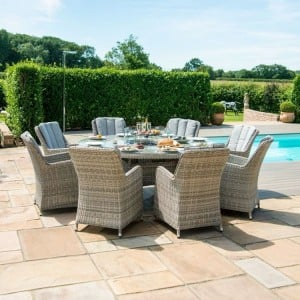 Maze Rattan Garden Oxford 8 Seat Round Fire Pit Table with Venice Chairs