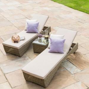 Maze Rattan Garden Furniture Winchester 3 Piece Sunlounger Set