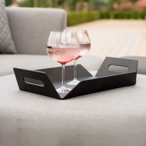 Maze Lounge Outdoor Fabric Aluminium Black Table Tray