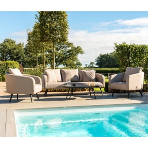 Maze Fabric Garden Furniture Ambition Taupe 3 Seat Sofa Set