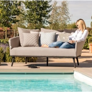 Maze Lounge Outdoor Fabric Ark Daybed in Taupe
