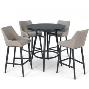 Maze Fabric Garden Furniture Regal Taupe 4 Seat Round Bar Set