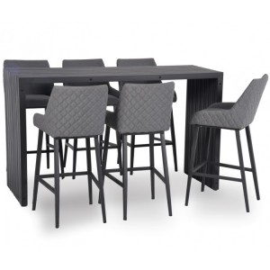 Maze Fabric Garden Furniture Regal Flanelle 6 Seat Rectangular Bar Set