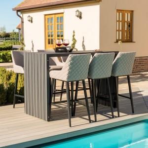 Maze Fabric Garden Furniture Regal Taupe 6 Seat Rectangular Bar Set