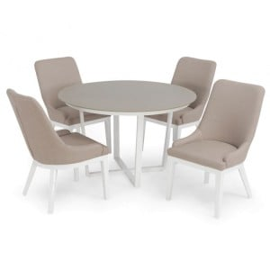 Maze Fabric Garden Furniture Pacific Taupe 4 Seat Round Dining Set