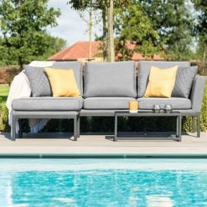 Maze Fabric Garden Furniture Pulse Flanelle Chaise Sofa Set