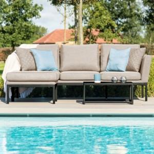 Maze Fabric Garden Furniture Pulse Taupe Chaise Sofa Set