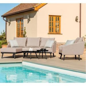 Maze Fabric Garden Furniture Zeno Taupe Chaise Sofa Set