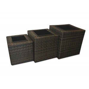 Maze Rattan Garden Furniture Brown Square Planter Set
