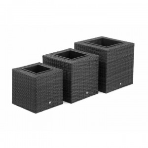 Maze Rattan Garden Furniture Grey Square Planter Set