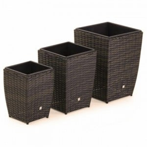 Maze Rattan Garden Furniture Brown Shaped Planter Set