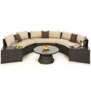 Maze Rattan Garden Half Moon Sofa Set Brown