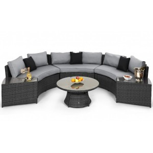 Maze Rattan Garden Half Moon Sofa Set Grey