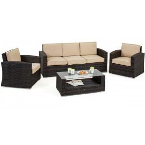 Maze Rattan Kingston Garden Brown 3 Seat Sofa Set
