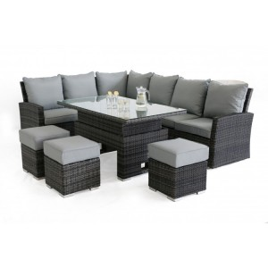 Maze Rattan Kingston Garden Grey Corner Dining Set With Rising Table