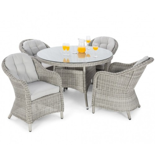 Maze Rattan Oxford 4 Seat Round Dining Set With Rounded Chairs