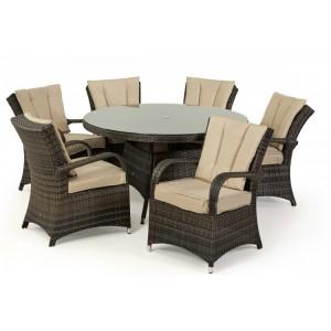 Maze Rattan Texas Garden Brown 6 Seater Round Table Set