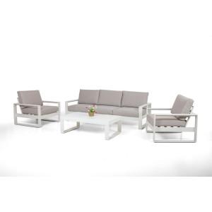 Maze Rattan Amalfi Garden 3 Seat Sofa Set White