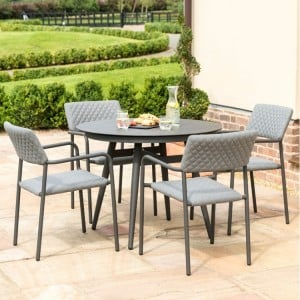 Maze Fabric Garden Furniture Bliss Flanelle 4 Seat Round Dining Set
