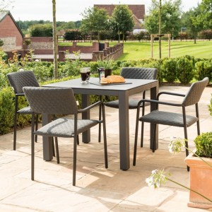 Maze Fabric Garden Furniture Bliss Flanelle 4 Seat Square Dining Set