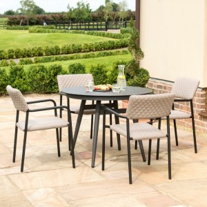 Maze Fabric Garden Furniture Bliss Taupe 4 Seat Round Dining Set