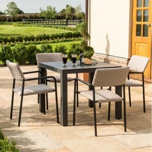 Maze Fabric Garden Furniture Bliss Taupe 4 Seat Square Dining Set