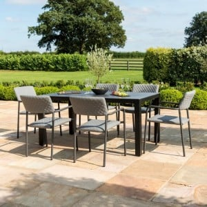 Maze Fabric Garden Furniture Bliss Taupe 6 Seat Dining Set