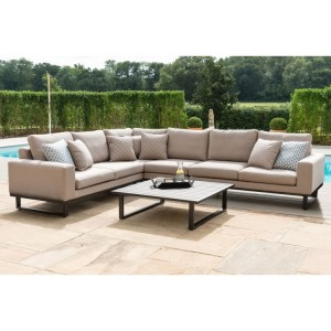 Maze Fabric Garden Furniture Ethos Taupe Large Corner Group