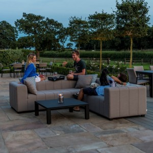 Maze Fabric Garden Furniture Nexus Corner Group in Flanelle