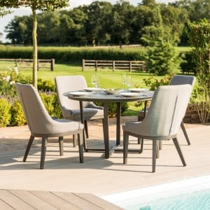Maze Fabric Garden Furniture Pacific Flanelle 4 Seat Round Dining Set