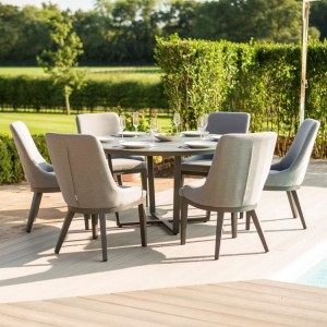 Maze Fabric Garden Furniture Pacific Flanelle 6 Seat Round Dining Set