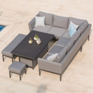 Maze Fabric Garden Furniture Pulse Flanelle Rising Table Corner Set