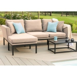 Maze Fabric Garden Furniture Pulse Taupe Chaise Sofa Set