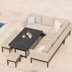 Maze Fabric Garden Furniture Pulse Taupe Rising Table Corner Set