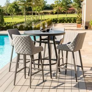 Maze Fabric Garden Furniture Regal Flanelle 4 Seat Round Bar Set
