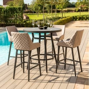 Maze Lounge Outdoor Fabric Regal 4 Seat Round Bar Set in Taupe - PRE ORDER