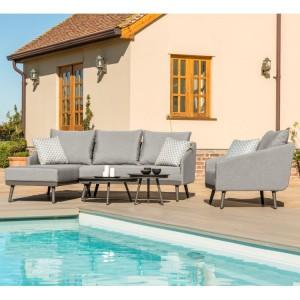 Maze Fabric Garden Furniture Zeno Flanelle Chaise Sofa Set