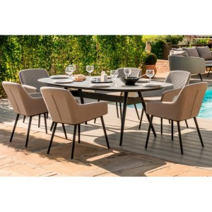 Maze Fabric Zest Garden Furniture 6 Seat Oval Dining Set in Taupe