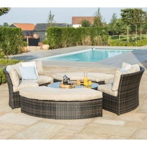 Maze Rattan Brown Chelsea Lifestyle Sofa Set & Glass Table Top