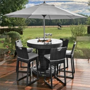 Maze Rattan Garden 6 Seat Round Bar Set with Ice Bucket Grey