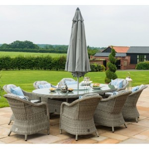 Maze Rattan Oxford 8 Seat Oval Ice Bucket Table With Heritage Chairs